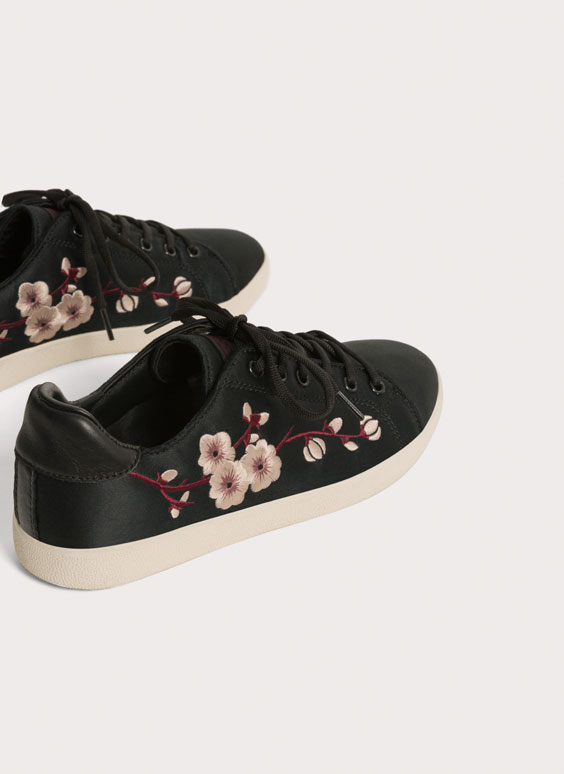 Embroidered satin sneakers