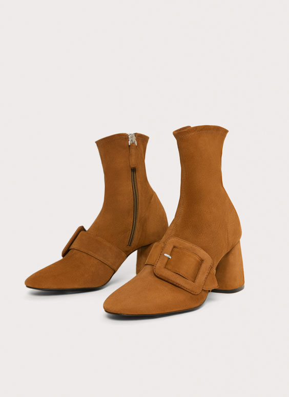 Stretch suede ankle boots
