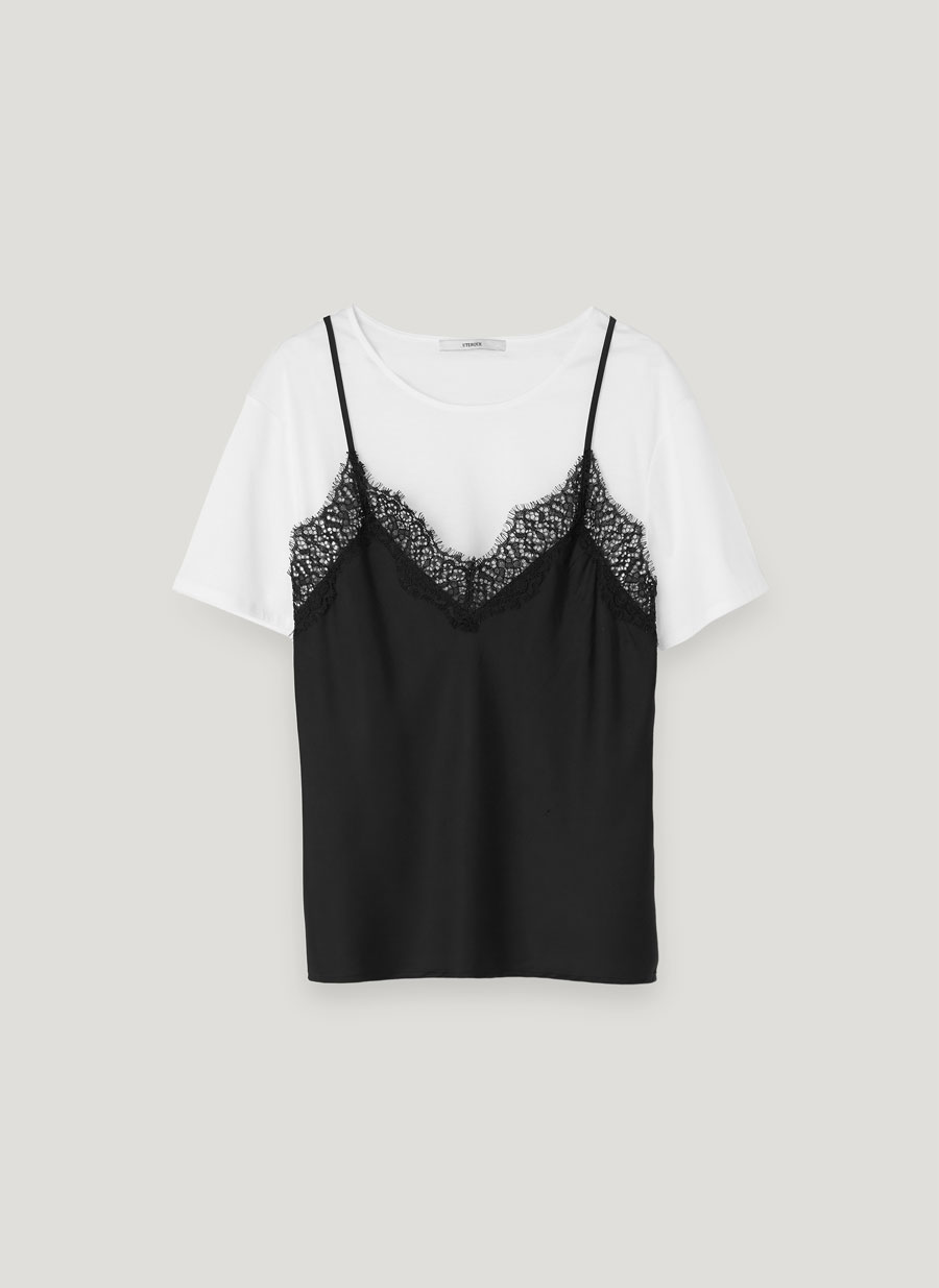 Black t shirt with lace - Lace Top Layered Over T Shirt