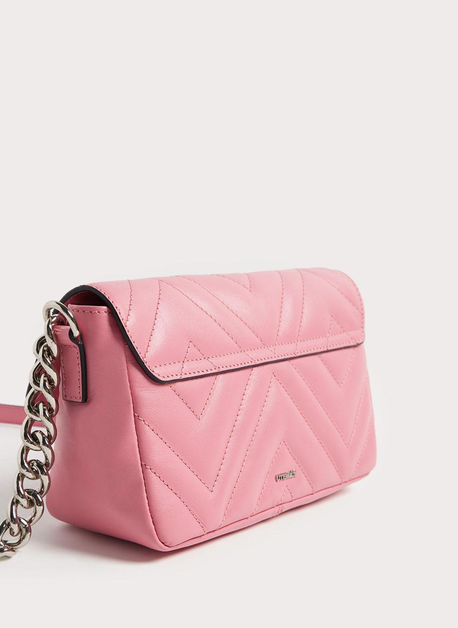 Pink quilted leather handbag - - Uterqüe United Kingdom