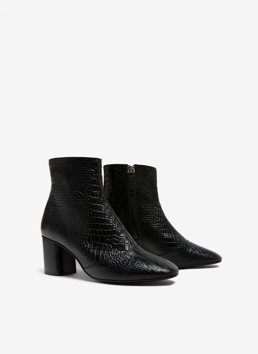 Embossed leather ankle boots - Boots and ankle boots - Footwear ...