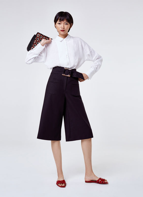 Long Bermuda shorts with buckle