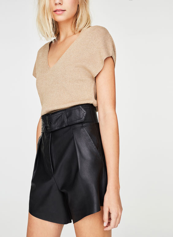 Leather Bermuda shorts