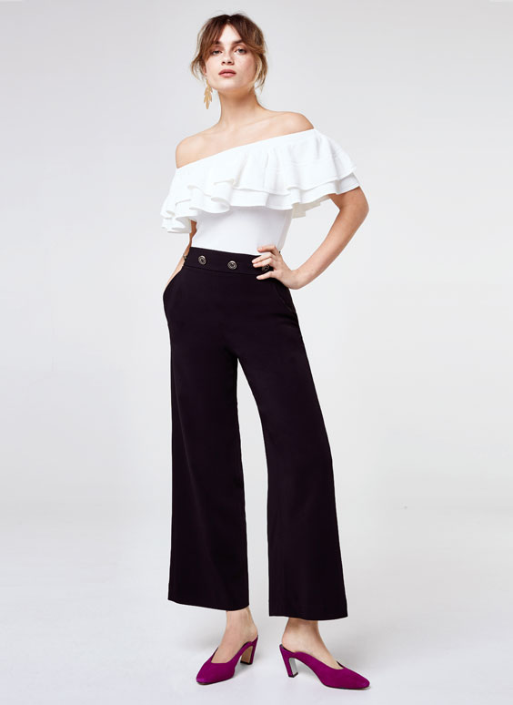Palazzo trousers with buttons.