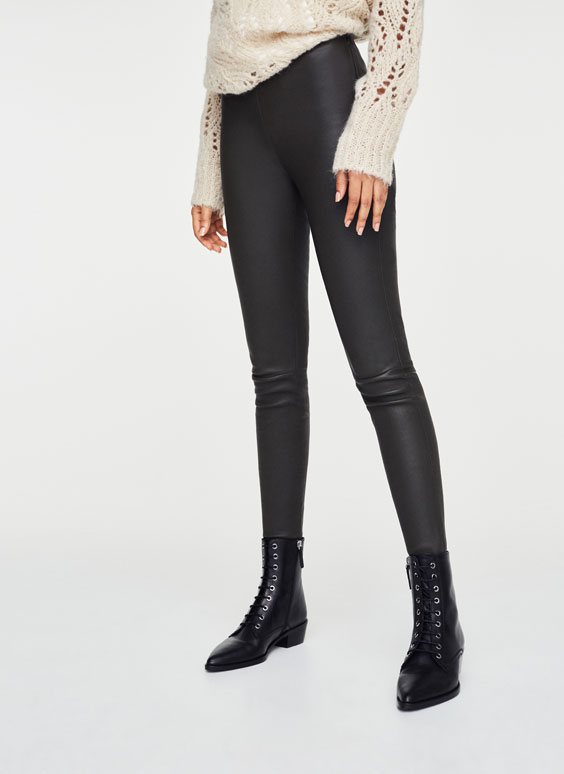 Khaki nappa leather leggings