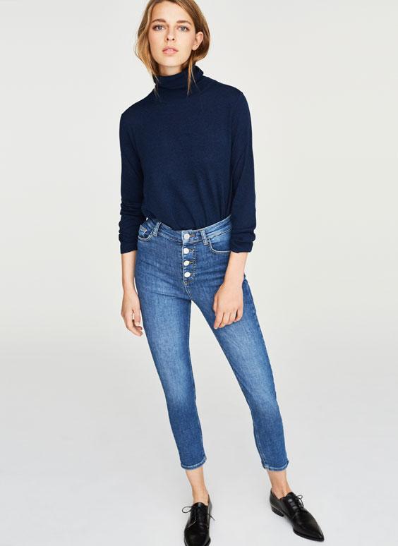 复古风蓝色牛仔裤