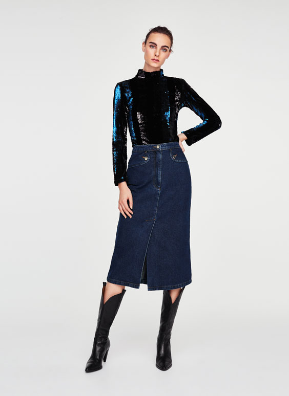 Double slit denim skirt