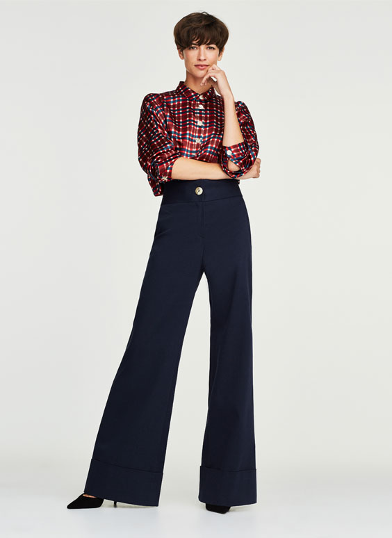 Navy wide-leg trousers