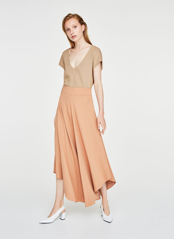 Asymmetrical skirt-style palazzo trousers