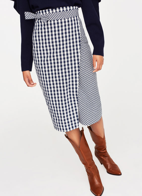 Double gingham pattern sarong skirt