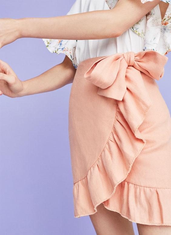 Льняная юбка с воланом
