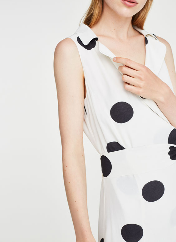 Polka dot dress with lapel collar