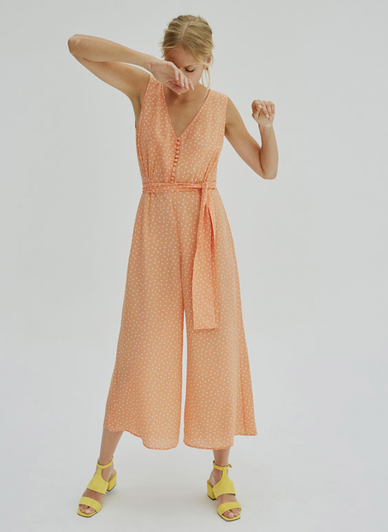 Orange polka dot jumpsuit
