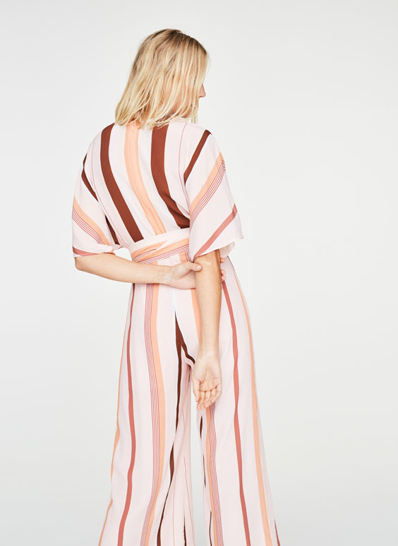Striped pink jumpsuit