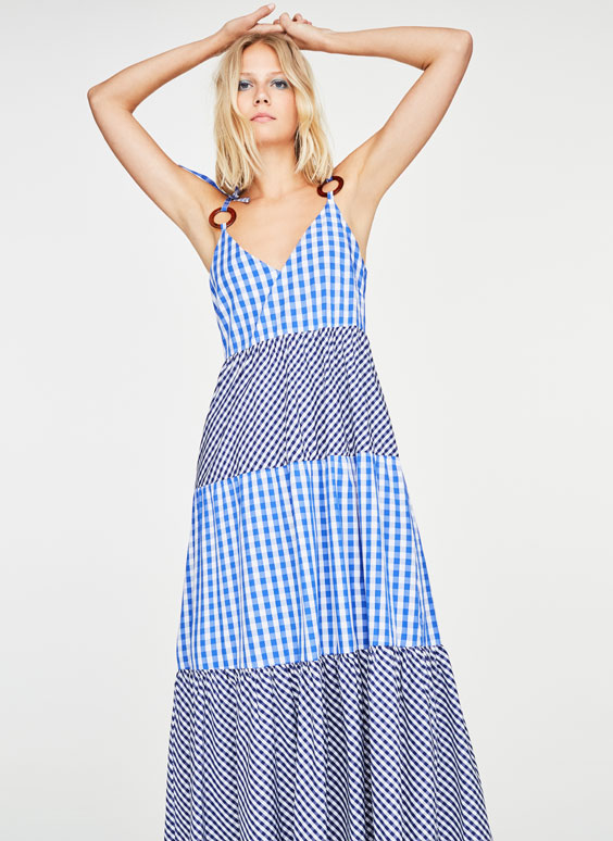 Long gingham check dress