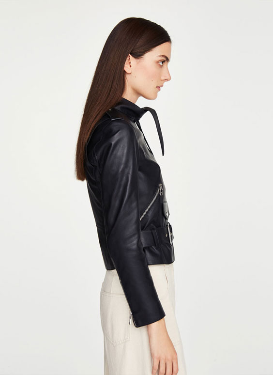 Biker jacket with tie detail