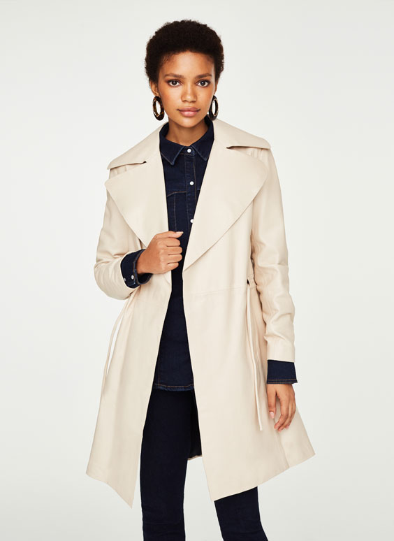 Nappa leather trench coat with lapel collar