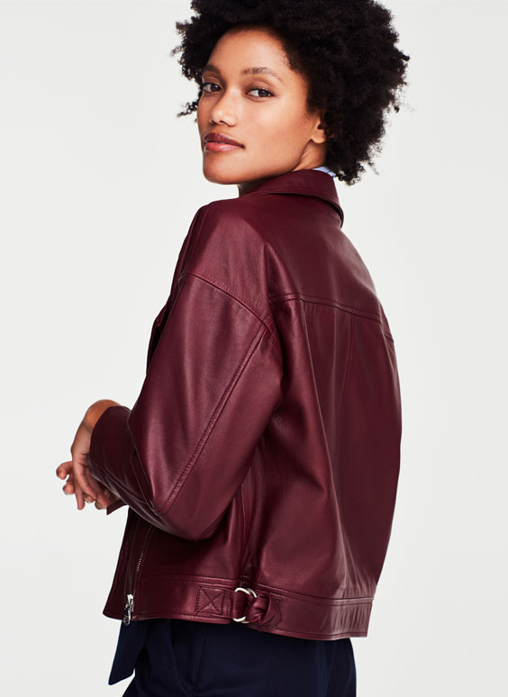 Maroon nappa leather jacket
