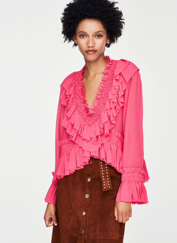Pink ruffled shirt