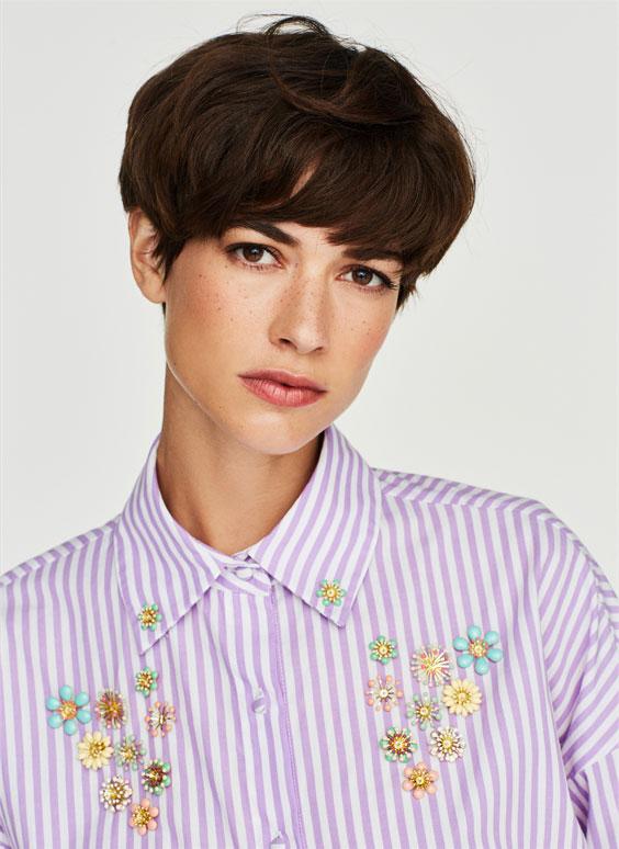 镶水钻细条纹衬衫