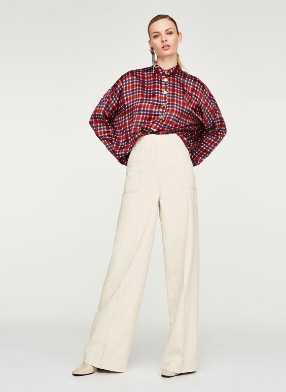 Oversized tartan check shirt