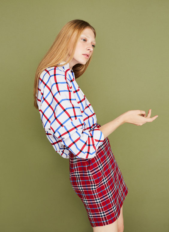 Tartan check oversized shirt