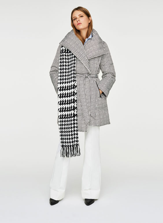 Houndstooth down coat