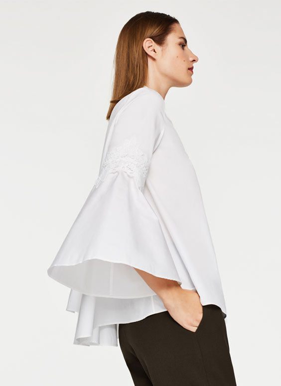 Bell sleeve shirt with guipure