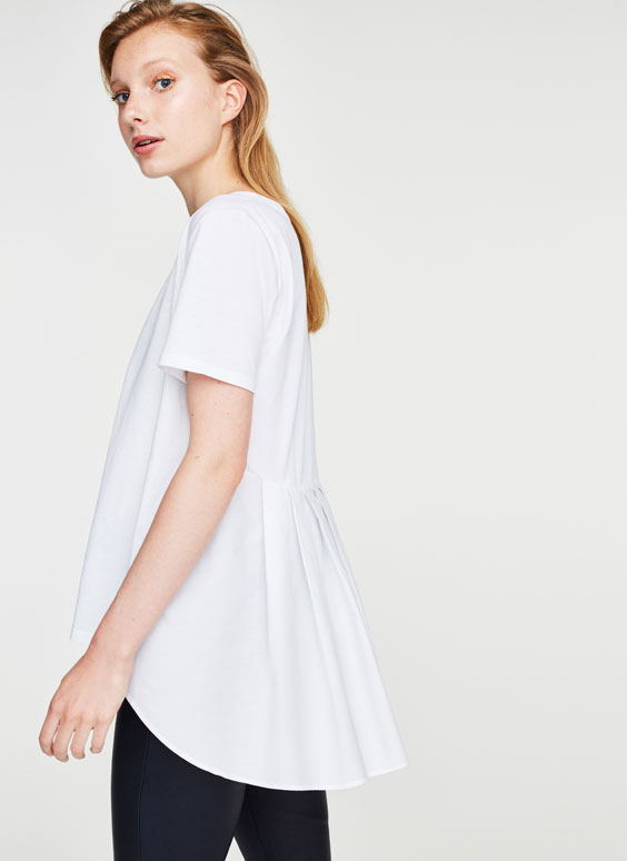 T-shirt with pleated hem