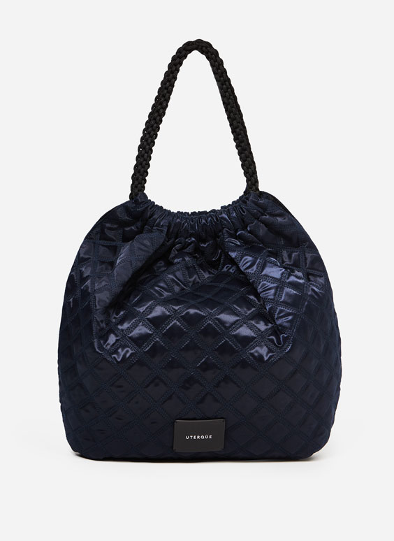 Quilted bag plaited straps