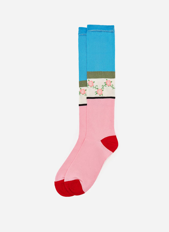 Long floral socks