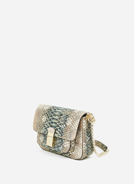Snakeskin embossed city bag