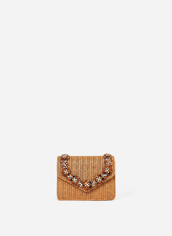 Handbag with bejewelled flap