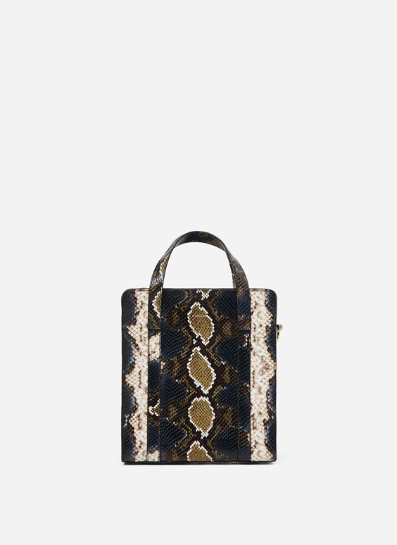 Large snakeskin-effect tote bag