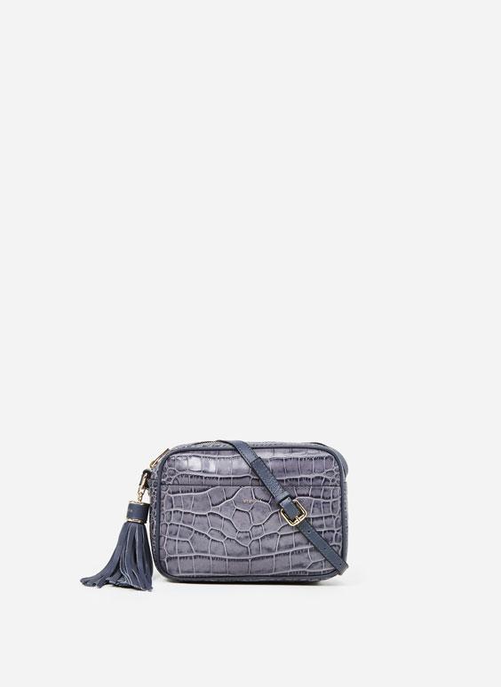 Чанта с дълга дръжка, имитация на крокодилска кожа