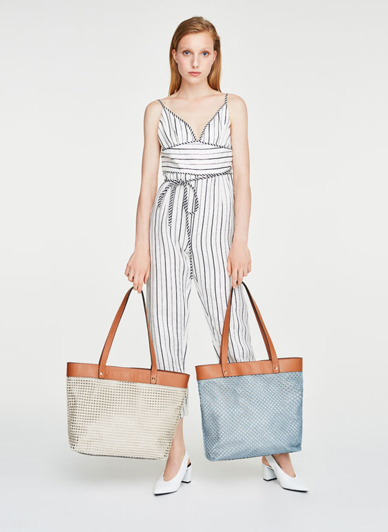 Perforated beige tote bag