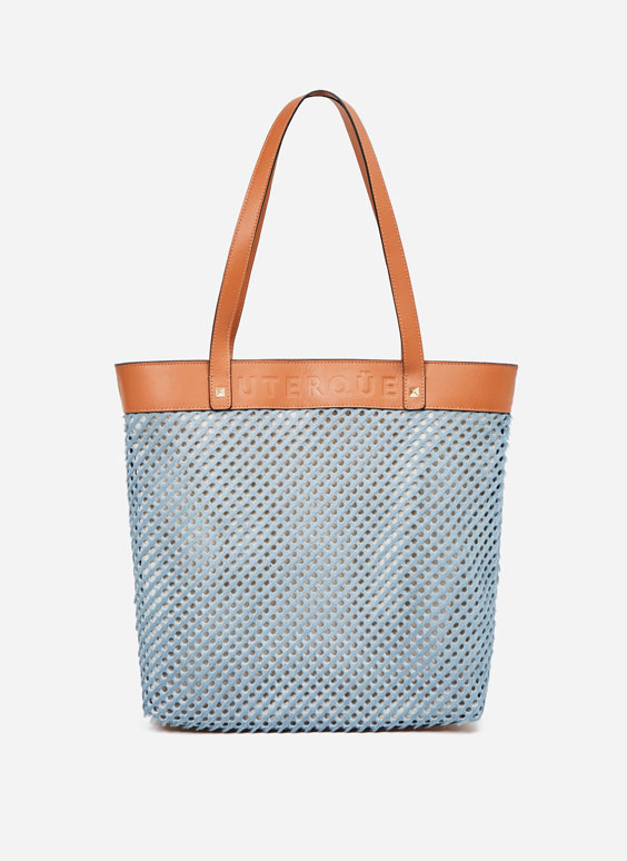 Blue cutwork handbag