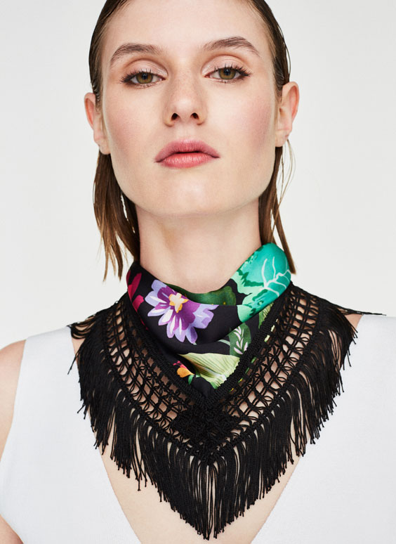 Flower and fringe neckerchief