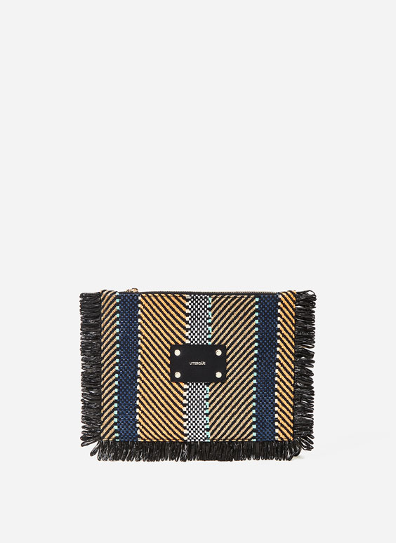 Multicoloured herringbone clutch