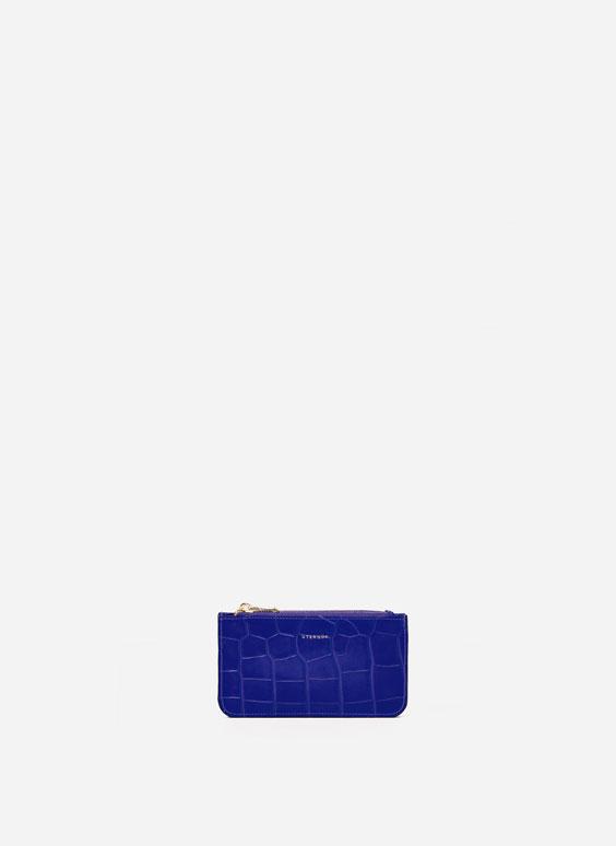 Mock croc double zip coin purse