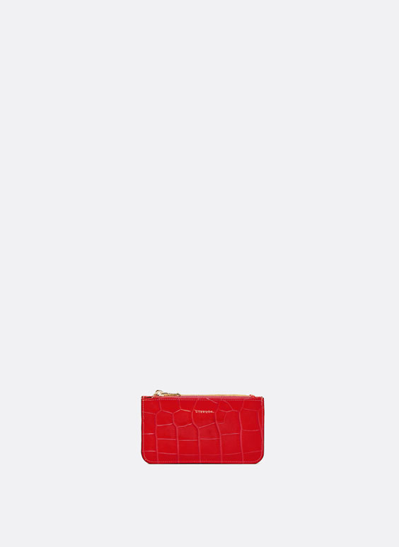 Mock croc double zip coin purse