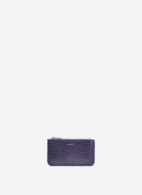 Croc texture double zip coin purse