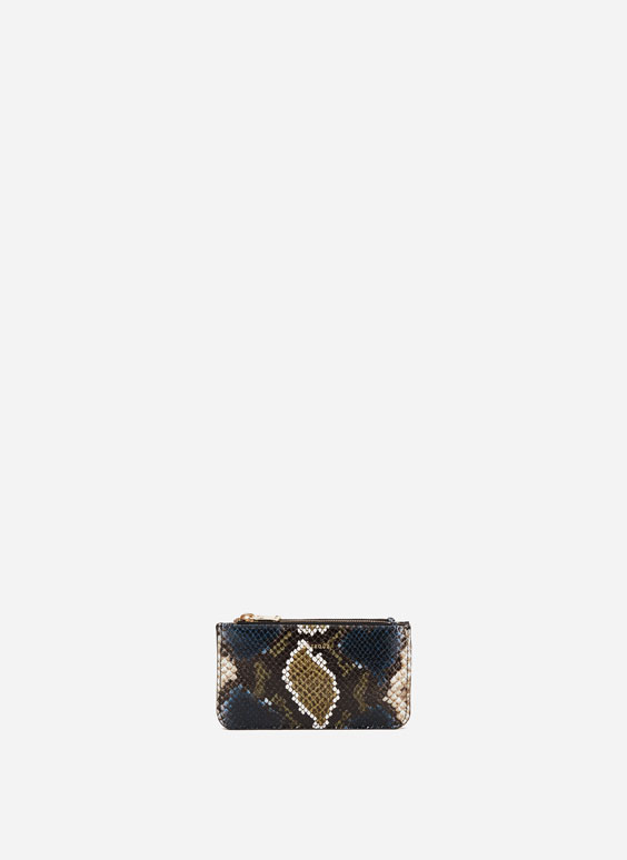 Snakeskin double zip coin purse