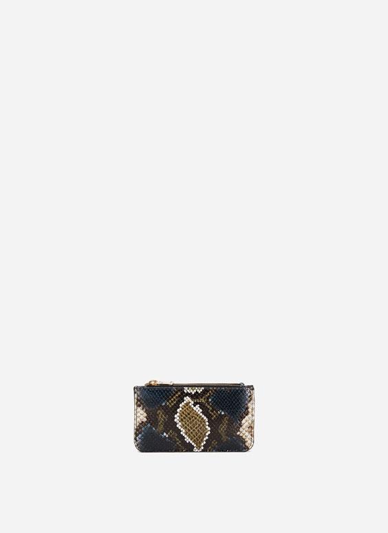 蛇皮压纹双隔层零钱包