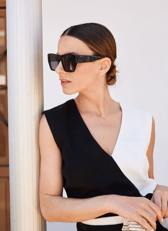 Rectangular acetate sunglasses