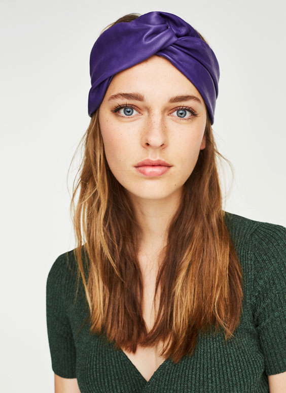 Leather turban-style headband