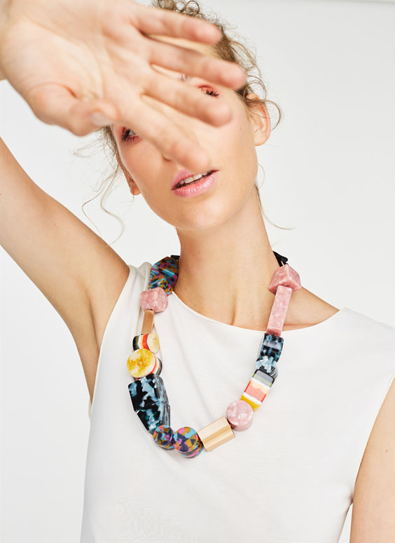 Multicoloured geometric necklace