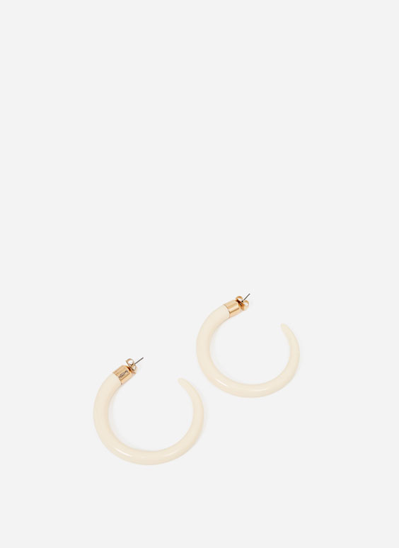 Ivory-effect hoop earrings