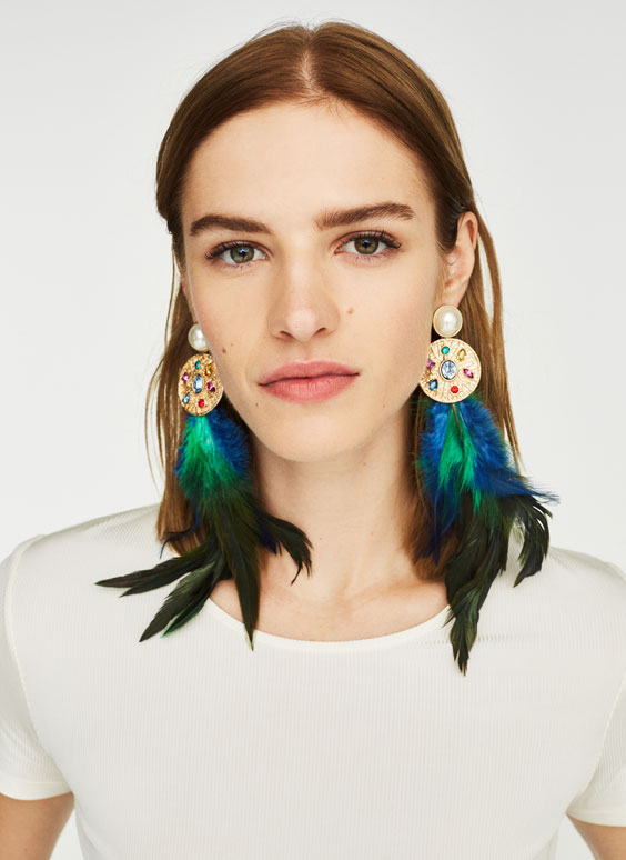 Multicoloured feather earrings