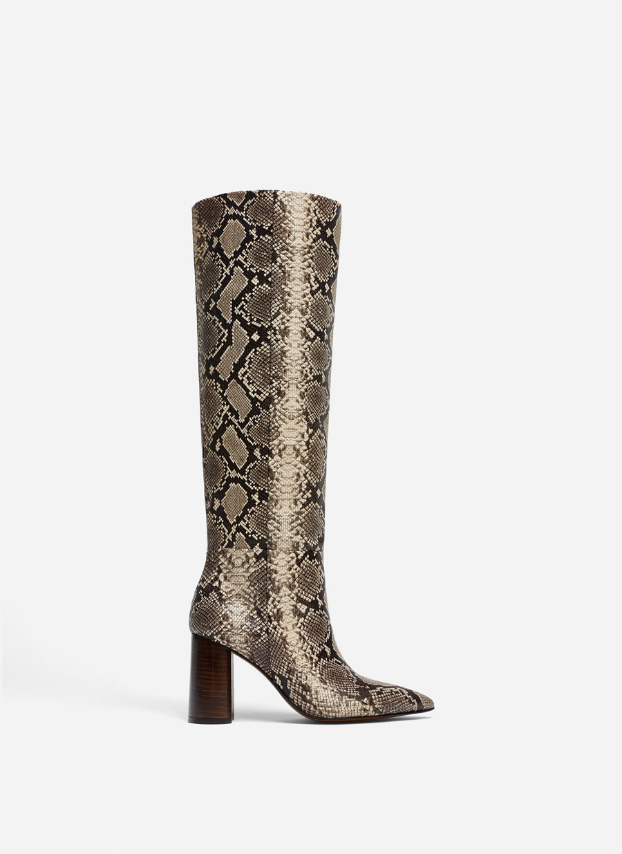 Snakeskin Print Boots High White Boots High Split Suede Boots by Uterqüe